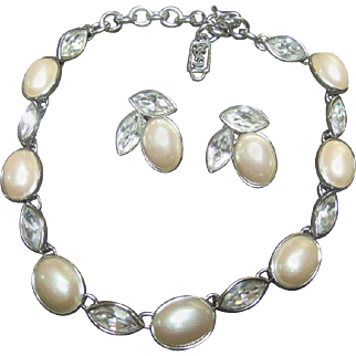 Yves Saint Laurent Pearl and Crystal Set. 1980's.