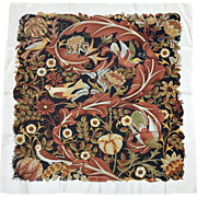 Ferragamo Bird Themed Silk Twill Scarf. Rich Autumn/Winter Palette. 1980's.