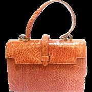 Lucille de Paris Sleek Peach Reptile Handbag. 1960's.