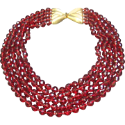 Valentino Ruby Red Crystal Statement Necklace. 1980's. High Impact!