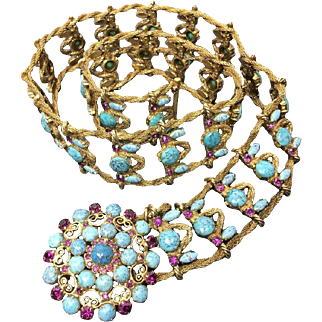 Yves Saint Laurent Couture Metal Belt with Faux Turquoise Cabochons. Museum Quality. 1970's.