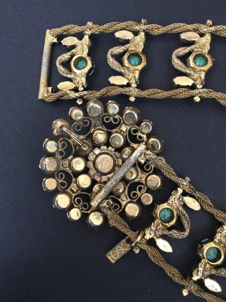 Yves Saint Laurent Couture Metal Belt With Faux Turquoise