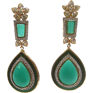 Emerald Green Poured Glass Teardrop Chandelier Earrings. Simply Exquisite!