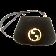 Gucci Midnight Blue Doeskin Suede Blondie Shoulder Bag. 1970's. Super Rare.