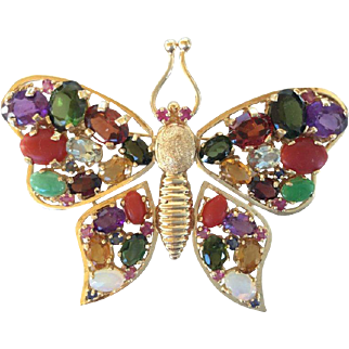 14KT Gold 1960's Gem encrusted Butterfly Brooch. Large. High Impact.