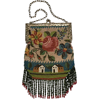 Victorian Micro-Beaded Scenic Bag. Floral Metal Clasp. 1880's.