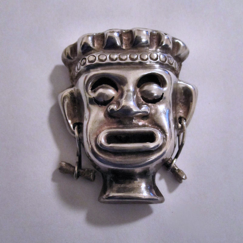 Vintage 1940s Mexican Pre-Eagle  Sterling Silver Face Brooch/Pin
