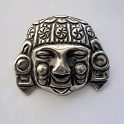 Vintage Mexican Inca Head/Face Sterling Silver 1940s Pin