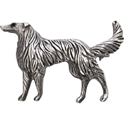 Vintage Borzoi Russian Wolfhound Dog Sterling Silver Pin
