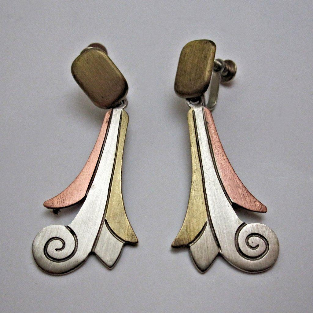 Mexican Metales Casados Vintage Mixed Metals Taxco Drop Earrings 1940s