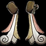 Mexican Metales Casados Vintage Mixed Metals Taxco Drop Earrings 1940s