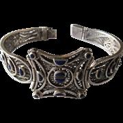 Vintage Silver Lapis Filigree Bracelet