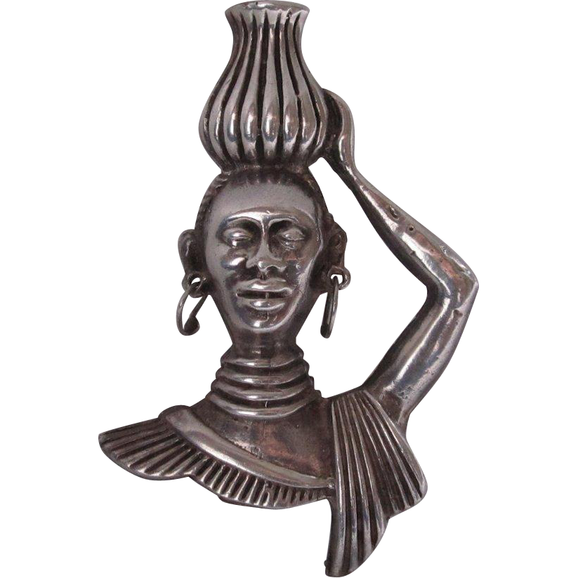 1940s African Lady Carrying Jug on Head Sterling Silver Pin/Pendant
