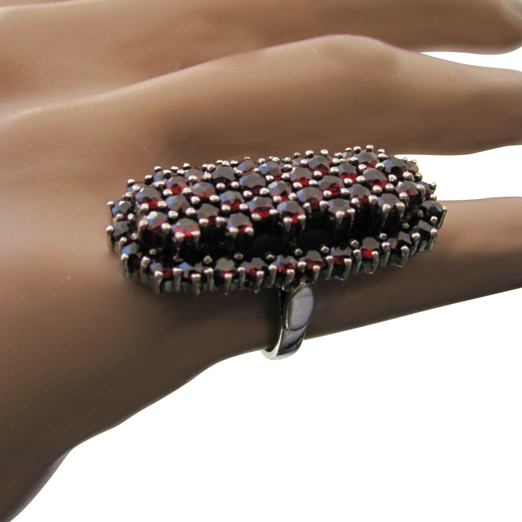 Vintage Bohemian Garnets Tall 2-Tiered Sterling Silver Ring US 4.5