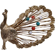 Vintage Peacock Goldtone Brooch/Pin w/Movable Beads