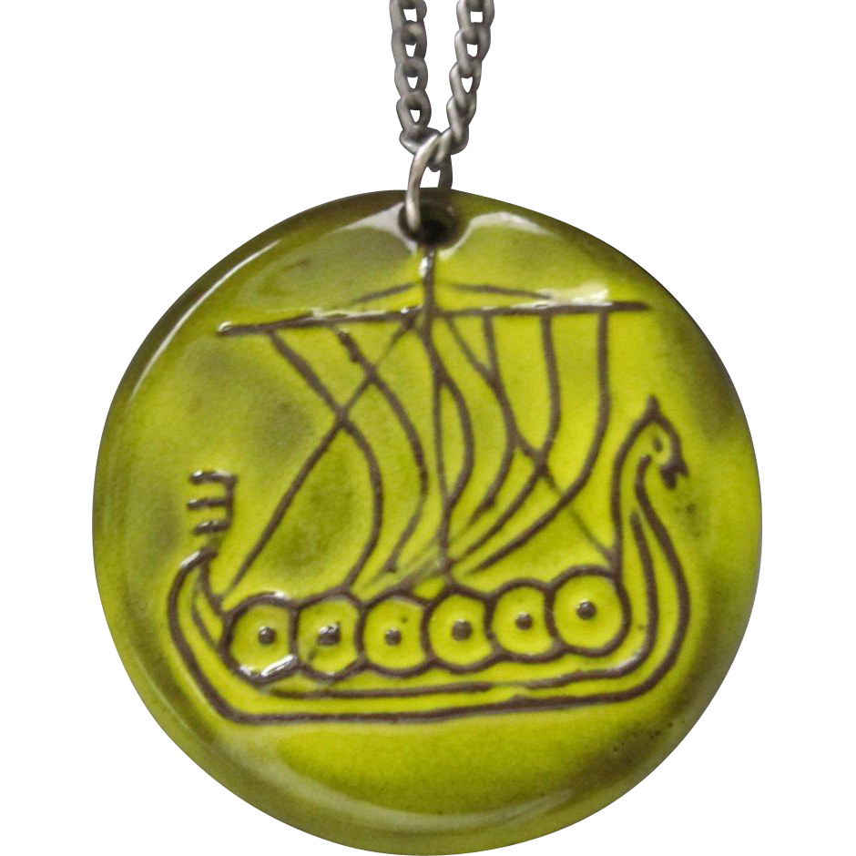 Mid Century Modernist Danish Fyrbo Ceramic Viking Ship Pendant