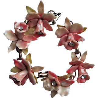 Vintage Art Deco Carved Celluloid Orchid Links Bracelet