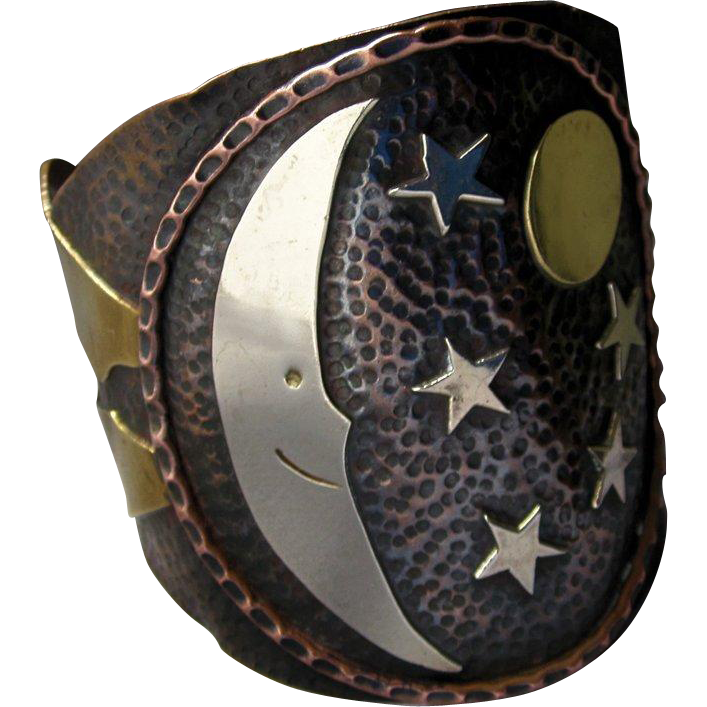 Vintage Mexican Copper Silver Brass Hammered Crescent Moon Stars Cuff Bracelet