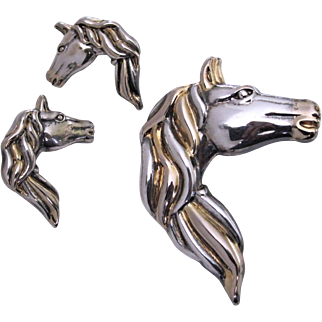 Vintage Sterling/Gold Horse Head Flowing Mane Brooch/Pendant and Earrings