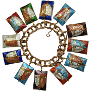 Rare Cloisonné Colorful Cat Faces Charm Bracelet