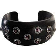 Vintage Ebony and Rhodolite Garnets Sterling Silver Cuff Bracelet