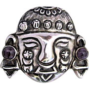 Early Mexican Inca Head/Face Sterling Silver Amethyst Pre-Eagle Brooch/Pin