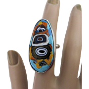 Mexican Ric Surrealist Enameled Sterling Silver Ring Erika Hult De Corral