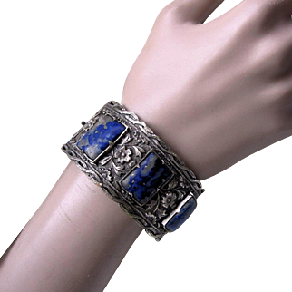 Beautiful Chinese Lapis Silver Gilt Plum Flowers Bracelet