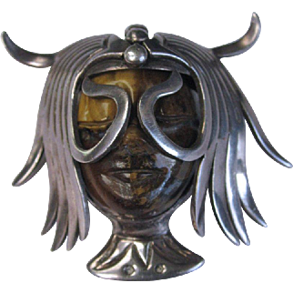 Los Ballesteros Carved Tiger Eye Sterling Silver Elaborate Headdress Pin/Pendant  Mexican