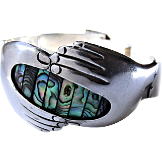 Melecio Rodriguez Mexican Sterling Silver Abalone Hands Bracelet