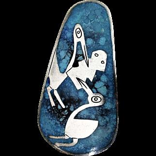 Vintage G. Laffi Sterling Silver and Enamel Birds w/Fish Pin