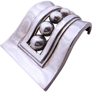 Margot De Taxco Modernist Sterling Silver Beaded Brooch