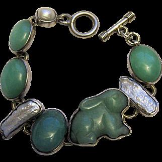 Amy Kahn Russell AKR Sterling Silver Jade Pearl Bunny Rabbit Bracelet