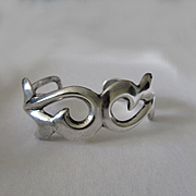 Vintage Navajo Sandcast Sterling Silver Cuff Bracelet