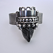 Vintage Mexican Taxco Sterling Silver Carved Onyx Aztec Head Bracelet