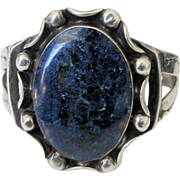 Vintage Navajo Sterling Silver and Lapis Cuff Bracelet C. 1940s