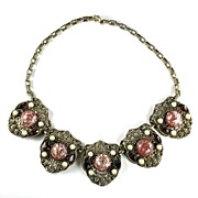 Selro Red Confetti Cabochon Vintage Necklace