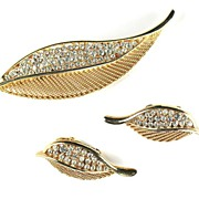 Kramer Rhinestone Leaf Vintage Brooch and Earrings