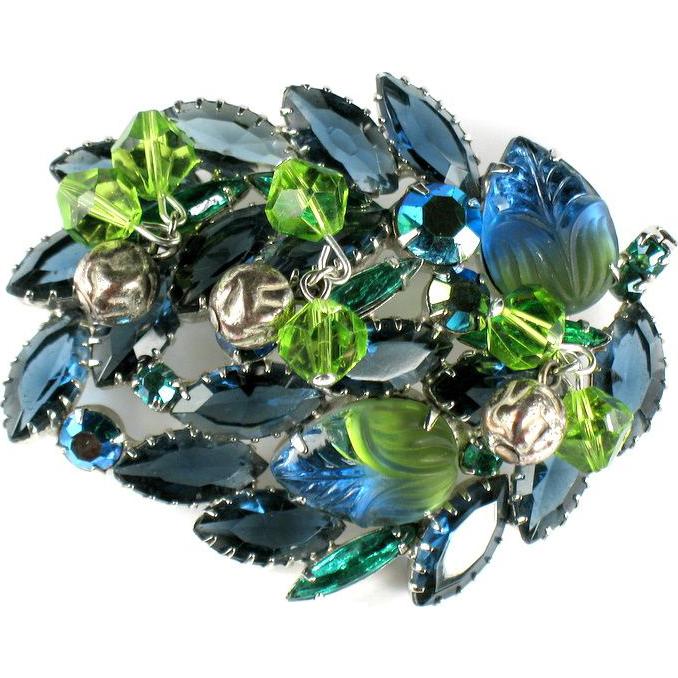 Green Blue Art Glass Vintage Brooch