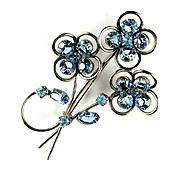 Blue Aqua Flower Motif Vintage Rhinestone Brooch