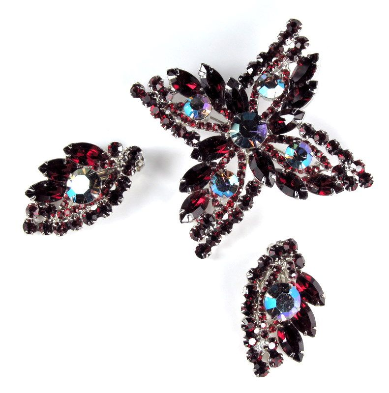 DeLizza and Elster Juliana Red and AB Rhinestone Brooch and Earrings