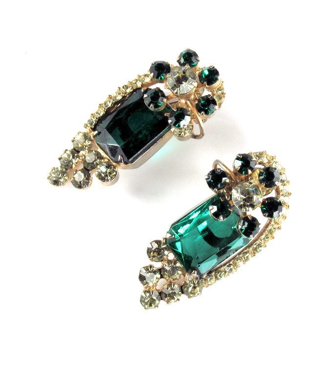 DeLizza & Elster Juliana Large Green Rhinestone Earrings