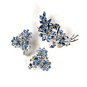Coro Blue Flower Brooch and Earrings Vintage Set