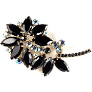 Juliana Black Vintage Flower Brooch by DeLizza and Elster