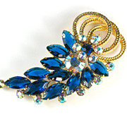 Juliana Capri Blue Rhinestone Vintage Brooch by DeLizza and Elster