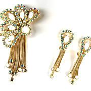 White AB Rhinestones Chain Brooch and Earrings Vintage Set