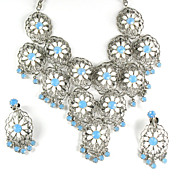 White Flower Opal Rhinestone Necklace and Earrings Vintage Set