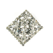 Juliana Rhinestone Square Vintage Brooch by DeLizza and Elster