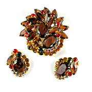 Juliana Topaz Rhinestone Brooch and Earrings Vintage Set