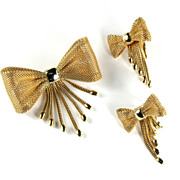 Lorraine Marsel Mesh Bow Vintage Brooch Earrings